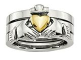 Chisel Stainless Steel Polished Yellow Ip-plated Claddagh Ring Set style: SR449