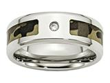 Chisel Stainless Steel Polished W/ CZ Printed Brown Camo Under Rubber Weeding Band style: SR452