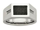 Chisel Stainless Steel Polished Black Carbon Fiber With CZ Ring style: SR453
