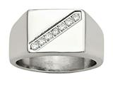 "Chisel Stainless Steel Polished Men""s CZ Ring style: SR459"