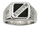 Chisel Stainless Steel Satin and Polished W/black Enamel CZ Ring style: SR460