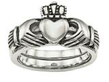 Chisel Stainless Steel Love Loyalty Friendship Claddagh Double Hinged Ring style: SR462