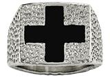 Chisel Stainless Steel Textured Black Enameled Cross Ring style: SR468