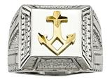 Chisel Stainless Steel Polished Yellow Ip-plated W/ Sterling Silver Anchor Ring style: SR471