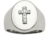 Chisel Stainless Steel Polished Cross CZ Signet Ring style: SR473