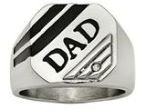 Chisel Stainless Steel Polished Black Enameled CZ Signet Dad Ring style: SR474