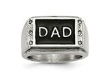 Chisel Stainless Steel Polished Black Enameled CZ Dad Ring style: SR477