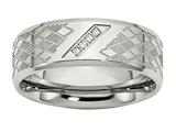 Chisel Stainless Steel Polished and Textured CZ Ring style: SR478