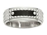 Chisel Stainless Steel Brushed And Polished Black Ip-plated Faceted Ring style: SR482