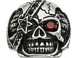 Chisel Stainless Steel Antiqued and Polished W/ Glass and Crystal Skull  Ring style: SR484