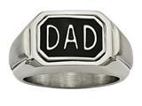 Chisel Stainless Steel Polished W/ Enamel And CZ Reversible Dad Ring style: SR485