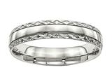 Chisel Stainless Steel Polished Grooved Criss Cross Design Ring style: SR487