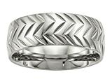 Chisel Stainless Steel Polished Diamond Cut Ring style: SR493