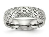 Chisel Stainless Steel Polished Textured Ring style: SR496