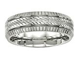 Chisel Stainless Steel Polished Grooved And Textured Ring style: SR499
