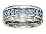 Chisel Stainless Steel Polished Blue Carbon Fiber Inlay Ring style: SR501