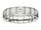 Chisel Stainless Steel Brushed Half Round CZ Ring style: SR506