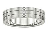 Chisel Stainless Steel Brushed Grooved Three CZ Ring style: SR514