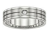 Chisel Stainless Steel Brushed And Polished Grooved CZ Ring style: SR521
