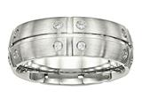 Chisel Stainless Steel Brushed Half Round/grooved CZ Ring style: SR537