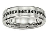Chisel Stainless Steel Brushed And Polished Black CZ Ring style: SR546