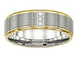 Chisel Stainless Steel Polished Yellow Ip CZ Grooved  Comfort Back Ring style: SR552
