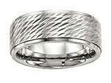 Chisel Stainless Steel Polished W/brushed Center Ridged Edge Diamond Cut Ring style: SR554