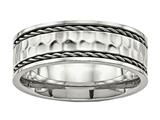 Chisel Stainless Steel Polished Hammered Comfort Back Ring style: SR555