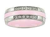 Chisel Stainless Steel Polished Pink Ceramic CZ Ring style: SR561