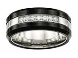 Chisel Stainless Steel Polished Black Ceramic CZ Beveled Edge Ring style: SR563