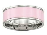 Chisel Stainless Steel Polished Pink Ceramic Ring style: SR567