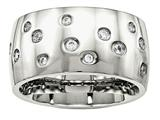 Chisel Stainless Steel Polished CZ Ring style: SR571