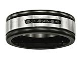 Chisel Stainless Steel Brushed/polished Black Ip Grooved Blk CZ Ring style: SR586