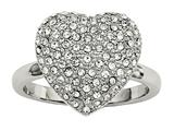 Chisel Stainless Steel Polished W/ Preciosa Crystal Heart Ring style: SR590