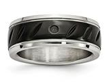 Chisel Stainless Steel Polished Black Ip Grooved Ring style: SR596