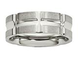Chisel Stainless Steel Brushed And Polished Grooved Ring style: SR598
