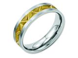 Chisel Stainless Steel Grooved Yellow Ip-plated Ladies 6mm Brushed Weeding Band style: SR59