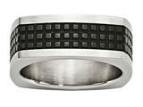 Chisel Stainless Steel Brushed/polished and Textured Black Ip-plated Square Weeding Band style: SR601