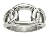 Chisel Stainless Steel Polished Crystal Ring style: SR607
