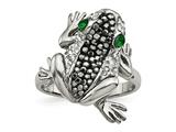 Chisel Stainless Steel Polished With Crystal Frog Ring style: SR613