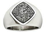 Chisel Stainless Steel Polished With Silver Druzy Ring style: SR614