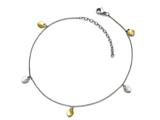 Chisel Stainless Steel Polished Yellow Ip-plated Hearts W/1.75in Ext Anklet style: SRA103105