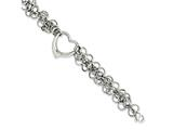 Chisel Stainless Steel Polished Circles W/heart 7.5in Bracelet style: SRB102075