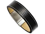Chisel Stainless Steel Textured Black Leather 8.5in Bracelet style: SRB102685