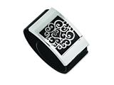 Chisel Stainless Steel Black Leatherette W/polished Scroll Wrap Bracelet style: SRB1029