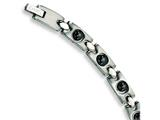 Chisel Stainless Steel Black Plated Magnetic Accents Bracelet - 8.5 inches
