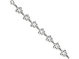 Chisel Stainless Steel Polished Cut-out Flowers 7.5in Bracelet style: SRB106075