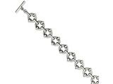 Chisel Stainless Steel Polished and Textured Circles 8in Toggle Bracelet style: SRB10748