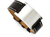 Chisel Stainless Steel Black Leather Adjustable Buckle Bracelet style: SRB1087875