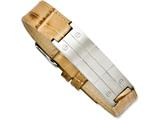 Chisel Stainless Steel Beige Textured Leather Bracelet style: SRB1114825